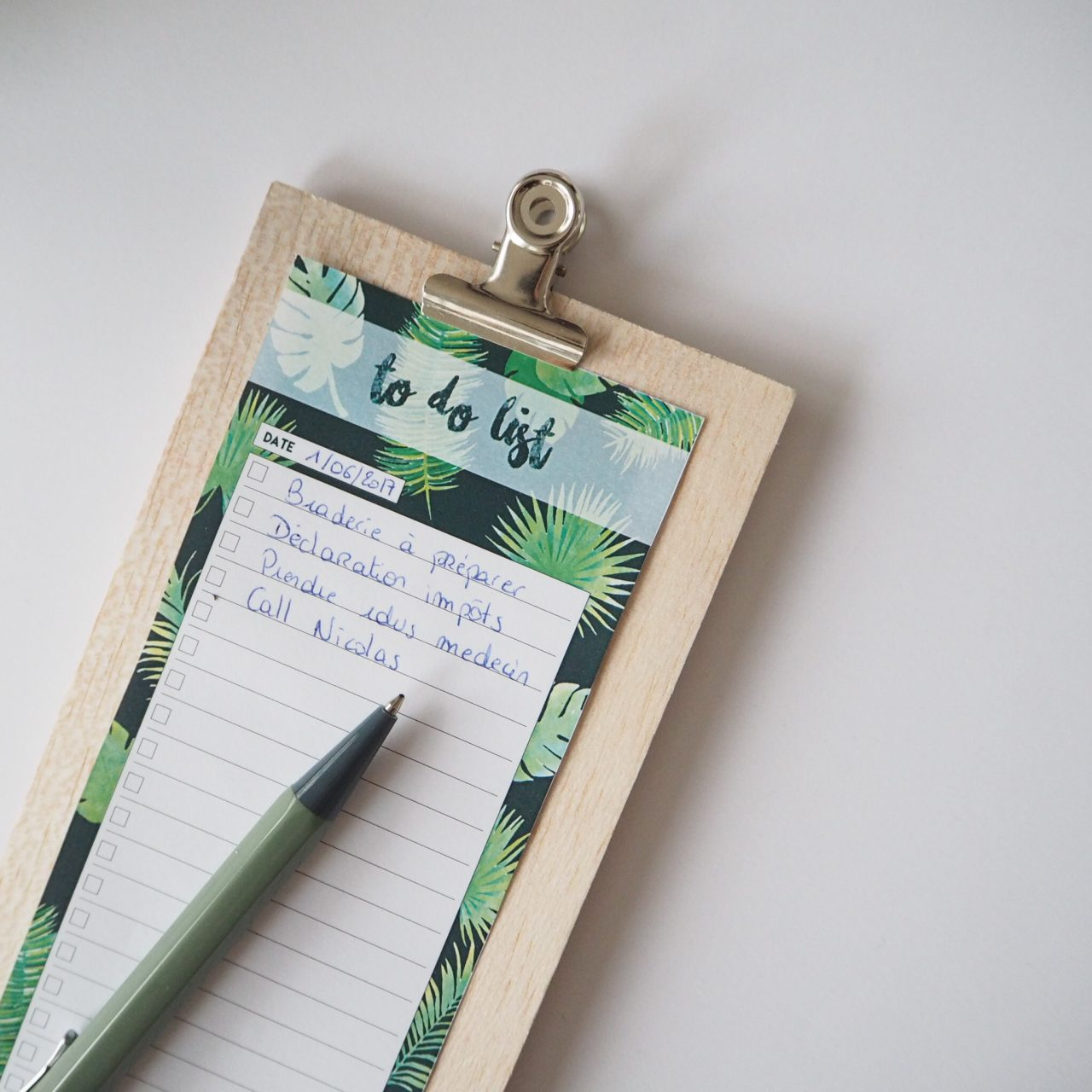 To do list motif feuilles